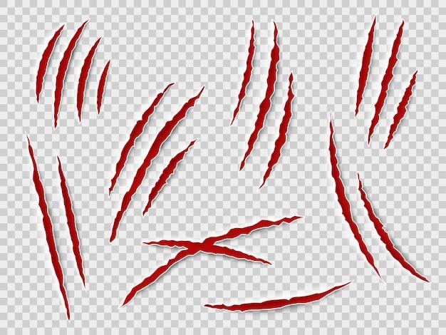Arañazos de garras. rastros de garras de animales, gato o tigre, oso o león atacan arañazos en las uñas. thriller horror, vector de monstruo de halloween rayado conjunto aislado marcado Vector Premium
