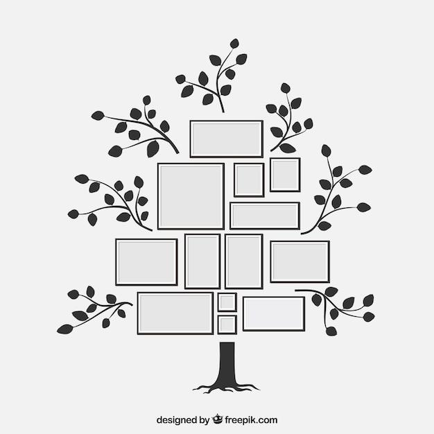 Árbol adorable de diseño plano con marcos de fotos vector gratuito