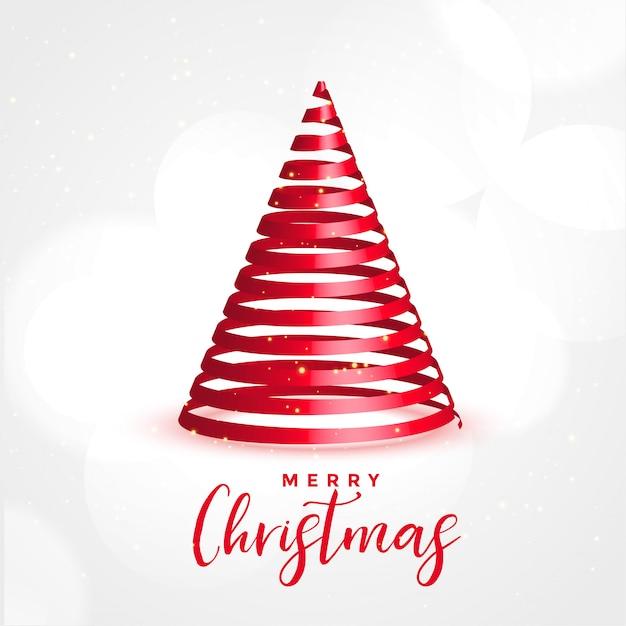 Árbol de cinta roja 3d para feliz festival de navidad vector gratuito