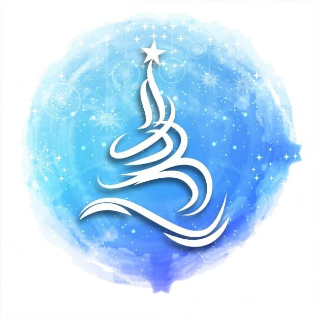 rbol de navidad blanco sobre acuarela azul vector gratis