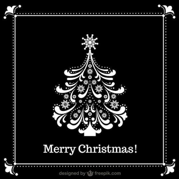Rbol de navidad blanco y negro descargar vectores gratis - Arbol navidad blanco ...