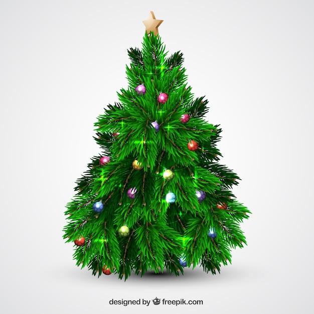 Rbol de navidad con bolas y luces descargar vectores gratis - Luces arbol de navidad ...