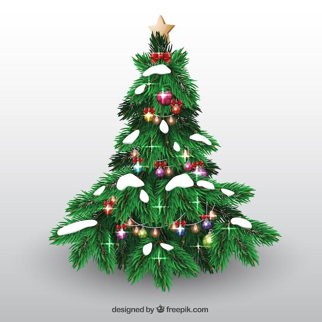 Rbol de navidad con bolas y nieve descargar vectores gratis - Arbol navidad nieve ...