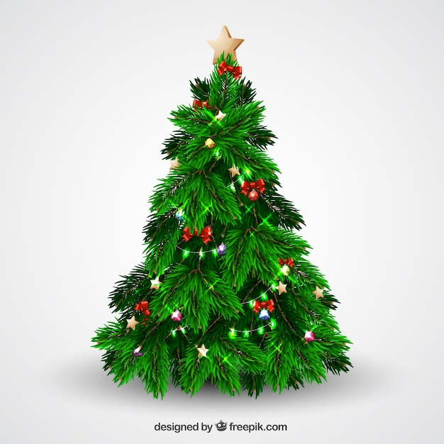 Arbol de navidad con brillantes luces y lazos descargar - Luces arbol de navidad ...