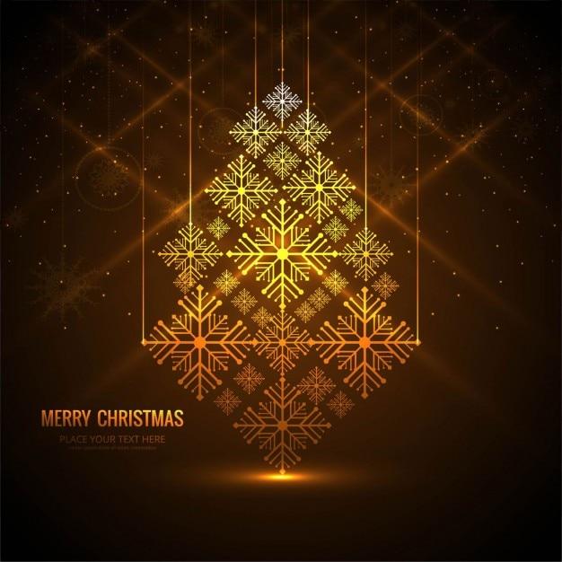 Rbol de navidad con copos de nieve dorados descargar - Arbol navidad nieve ...
