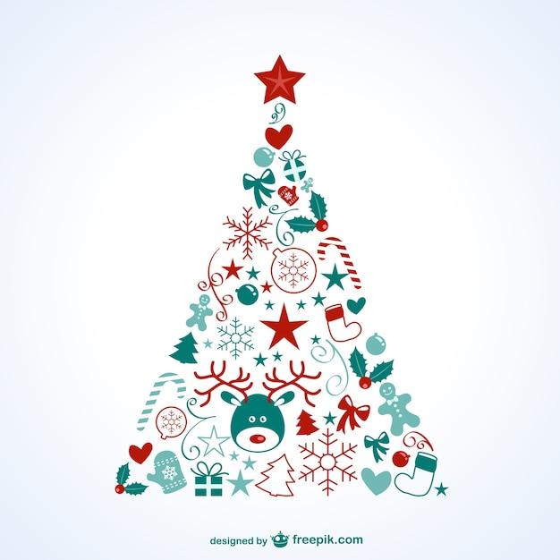 Rbol de navidad con iconos descargar vectores gratis - Arbol de navidad adornado ...