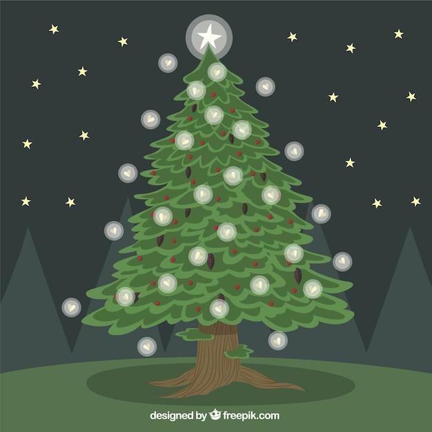 Rbol de navidad con luces descargar vectores premium - Luces para arbol de navidad ...