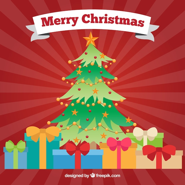 Rbol de navidad con regalos coloridos descargar - Arbol de navidad con regalos ...