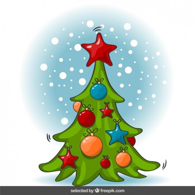 rbol de navidad de dibujos animados vector gratis - Dibujo De Arbol De Navidad