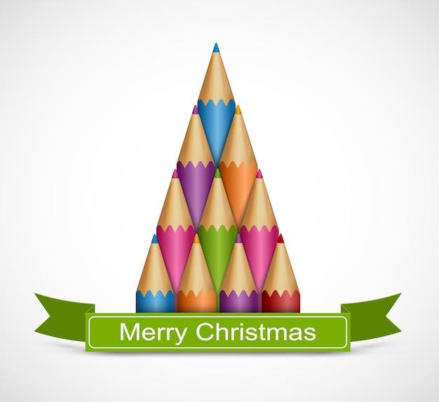 Árbol de navidad de lápices de colores.   Descargar Vectores Premium