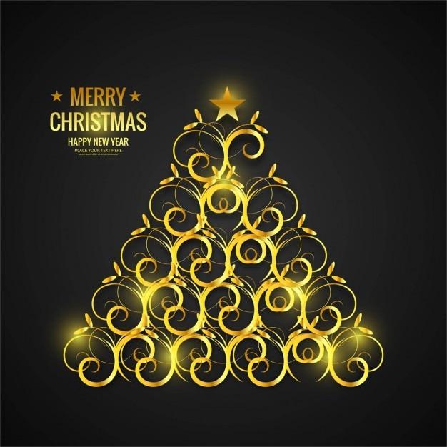 Rbol de navidad dorado con ornamentos descargar - Arbol de navidad dorado ...