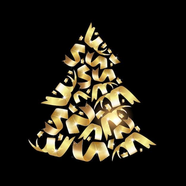 Rbol de navidad dorado descargar vectores premium - Arbol de navidad dorado ...