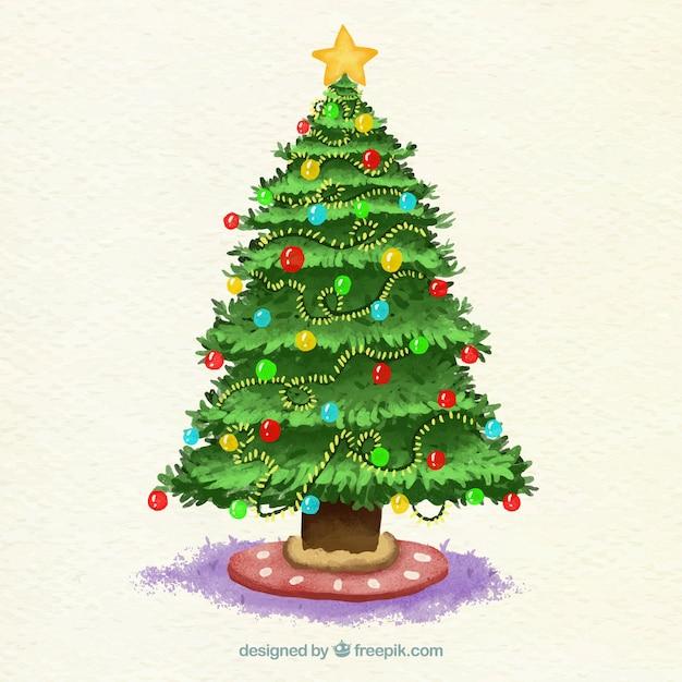 Rbol de navidad en acuarela decorado con adornos y luces - Arbol de navidad con luces ...