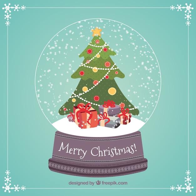 Rbol de navidad y regalos dentro de una bola de nieve - Arbol navidad nieve ...