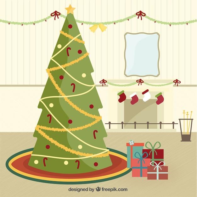 Rbol de navidad y regalos en dise o plano descargar - Arbol navidad diseno ...