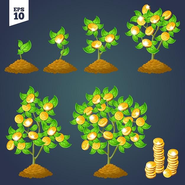 Árbol de dinero de crecimiento para juegos. vector gratuito