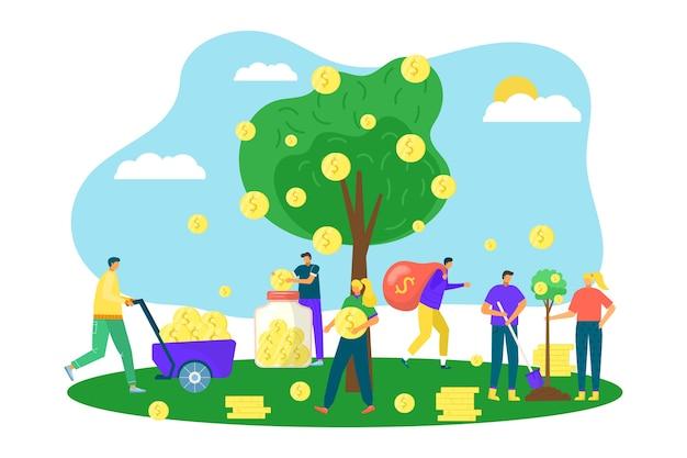 Árbol del dinero con monedas de oro, crecimiento financiero en los negocios, concepto de inversión, ilustración. símbolo de riqueza, árbol con moneda de dólares de dinero en lugar de hojas. éxito en el mercado, ecomony. Vector Premium