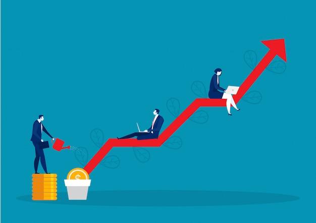 Árbol de dinero de riego empresarial, ganar dinero. gráficos y flechas Vector Premium
