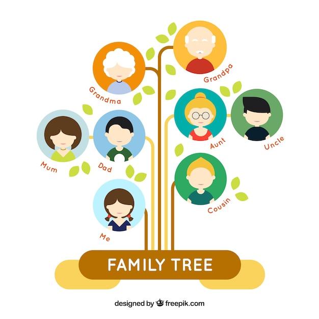 Árbol de familia plano fantástico con círculos de colores vector gratuito