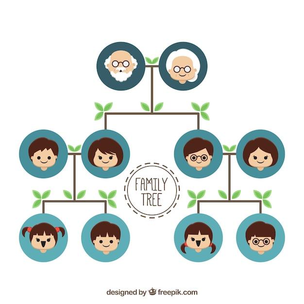 Rbol familiar con c rculos azules y hojas verdes en - Diseno arbol genealogico ...