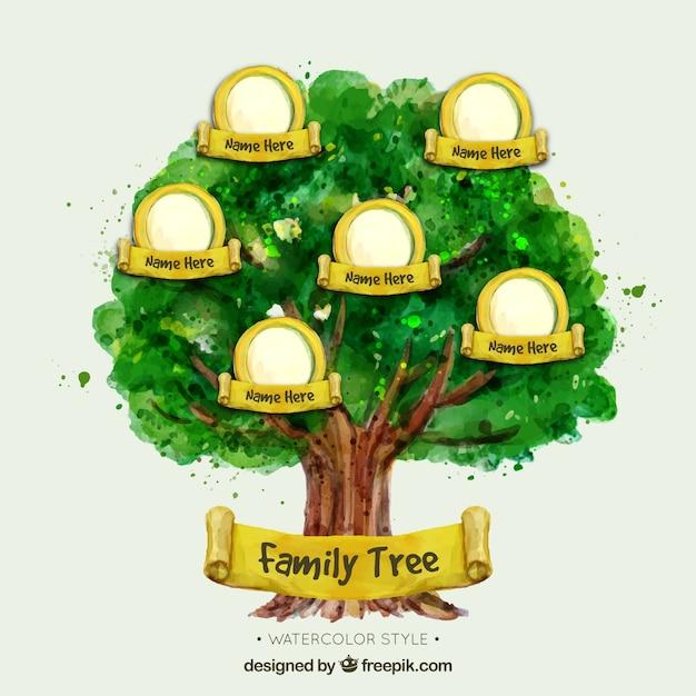 Árbol genealógico de acuarela con elementos amarillos descargar