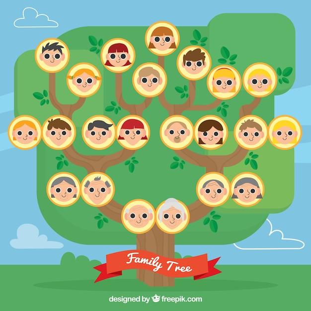 Rbol geneal gico con miembros en dise o plano descargar - Diseno arbol genealogico ...