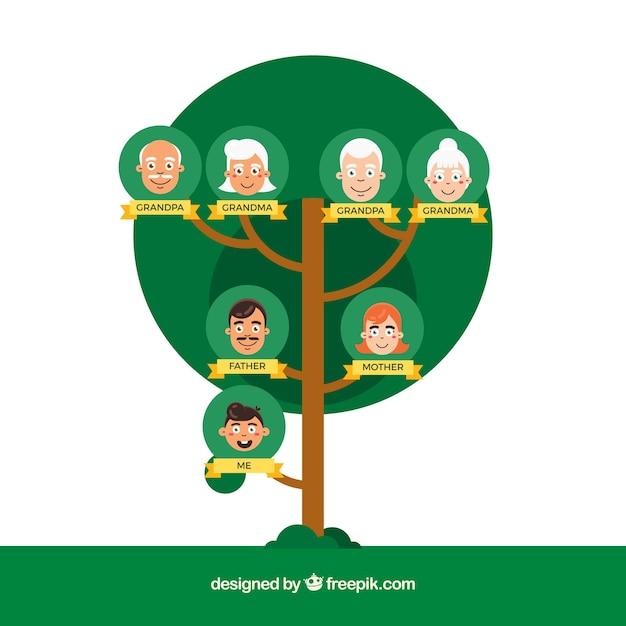 Rbol geneal gico redondo en dise o plano descargar - Diseno arbol genealogico ...