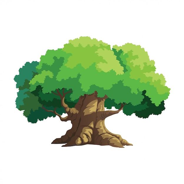Árbol de ilustración para dibujos animados Vector Premium