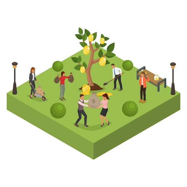 Árbol de la inversión de las finanzas del negocio de dinero, ilustración. gente hombre mujer personaje con dibujos animados moneda riqueza ganancias. Vector Premium