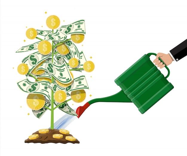 Árbol de monedas de dinero. árbol de dinero en crecimiento. Vector Premium