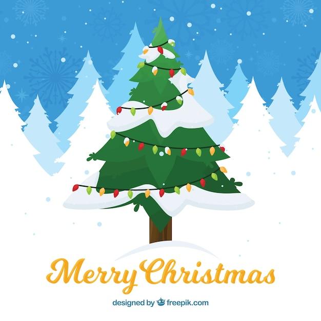 Árbol de navidad adorable bajo la nieve vector gratuito