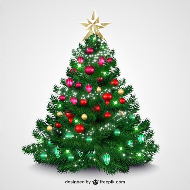 Árbol de navidad con adornos brillantes descargar vectores gratis
