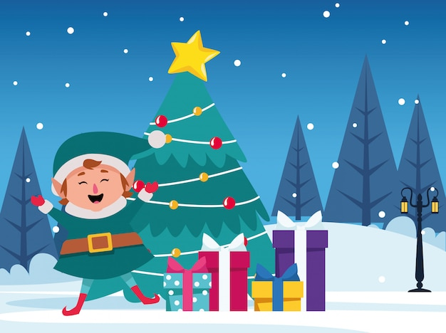 Árbol de navidad con cajas de regalo y duende feliz de dibujos animados Vector Premium