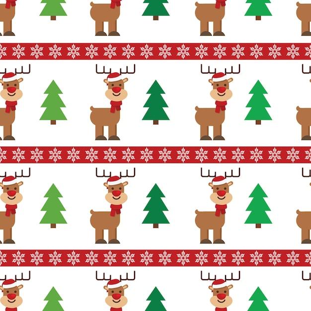 Árbol de navidad y ciervos lindos con patrón sin fisuras de sombrero ...