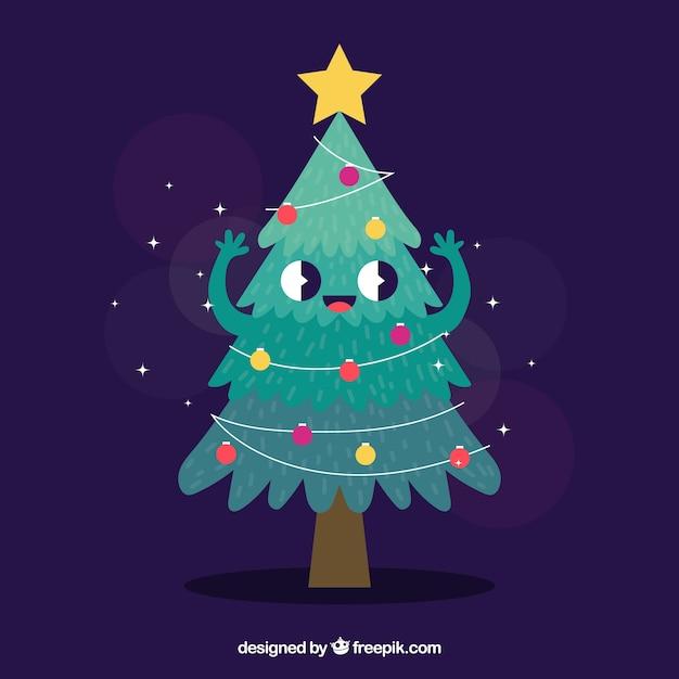 Imagenes Animadas Arboles Navidad.Arbol De Navidad Como Personaje Animado Descargar Vectores