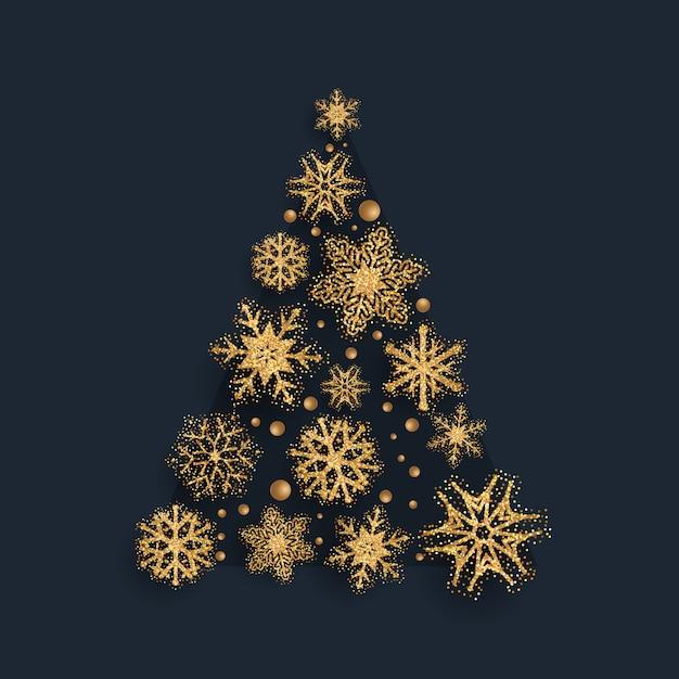 Árbol de navidad de copo de nieve reluciente vector gratuito