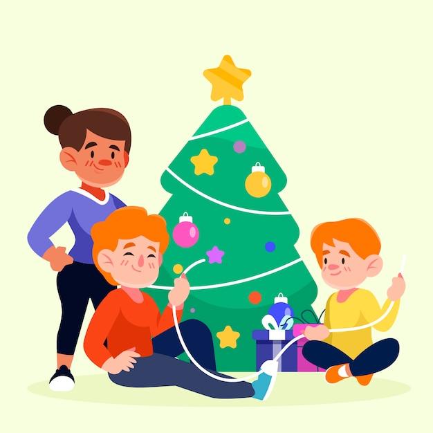 Árbol de navidad de decoración familiar vector gratuito