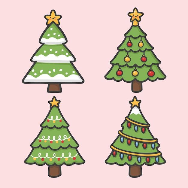 árbol De Navidad Y Decoración Ligera Conjunto De Vectores