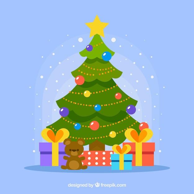 Arbol De Navidad Decorado Con Regalos Debajo Descargar Vectores Gratis - Fotos-arboles-de-navidad-decorados