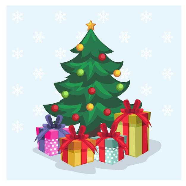 árbol De Navidad Decorado Rodeado De Variedades Caja De