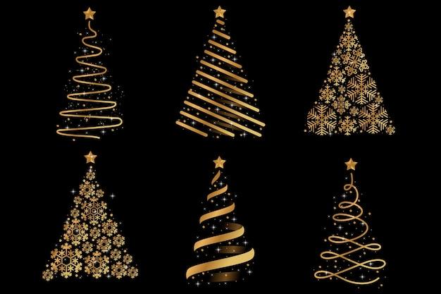 Árbol de navidad dorado abstracto vector gratuito