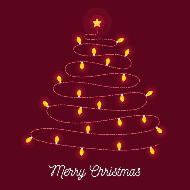 Árbol de navidad hecho de bombillas vector gratuito