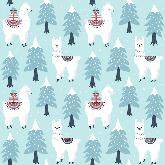 Árbol de navidad y lindo lama con patrones sin fisuras de cajas de regalo. Vector Premium