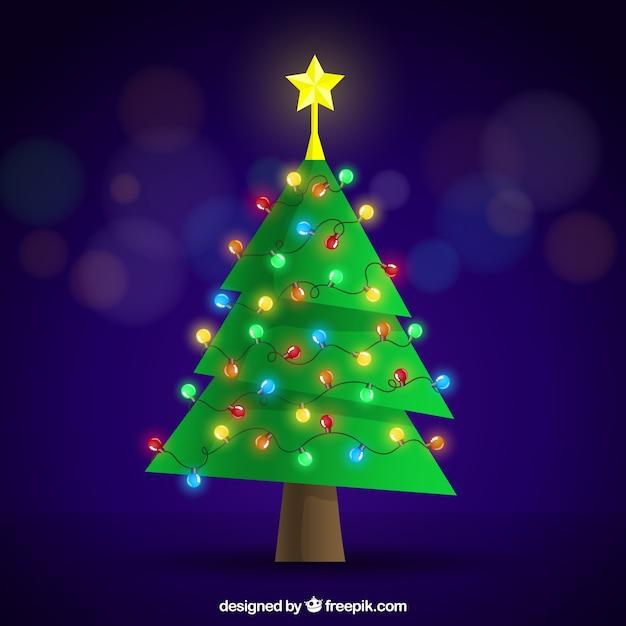 Arbol De Navidad Plano Con Decoracion De Luces De Colores