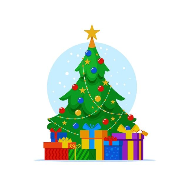 Árbol de navidad plano con regalos vector gratuito