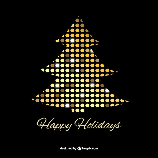 Arbol De Navidad Con Puntos Dorados Descargar Vectores Gratis - Arboles-de-navidad-dorados