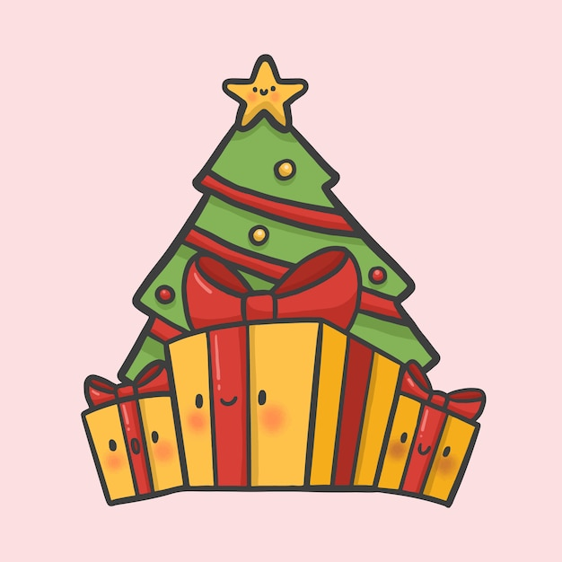 Dibujos De Navidad Regalos.Arbol De Navidad Y Regalos A Mano Vector De Estilo De