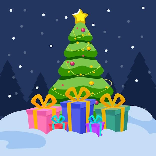 Arbol de navidad con regalos | Vector Premium
