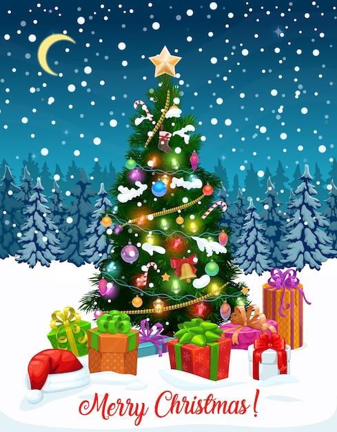 Árbol de navidad con tarjeta de felicitación de regalos. Vector Premium