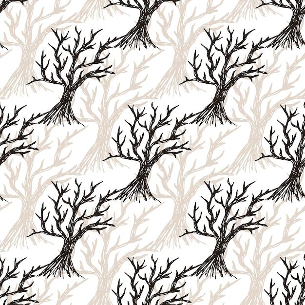 Árbol de patrones sin fisuras sin hojas. fondo de otoño de halloween ...